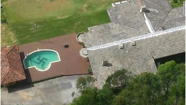A police helicopter discovered a huge swastika in the bottom of a pool in Brazil