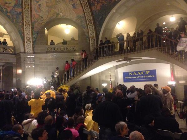 Inside the Capitol Rotunda in Jeff City. This marks the end of the Journey for Justice march