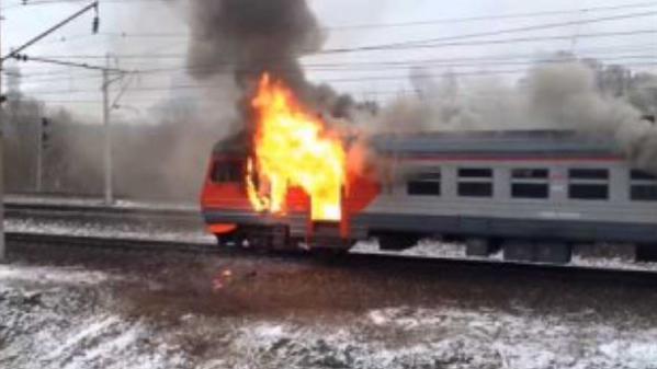 Train burnt in Moscow region