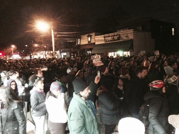 Hundreds of protesters now moving toward Porter Square in Cambridge, MA
