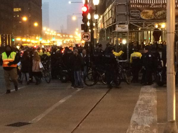 Protesters at Michigan and Wacker in Chicago ericgarner