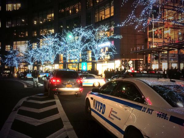 Police mobilizing at ColumbusCircle of NYC in advance of planned EricGarner protest