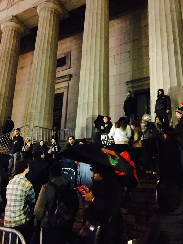 A few dozen protestors gathering on Wall Street to support family of EricGarner