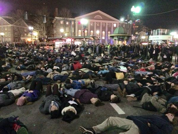 Massive die-in at Harvard. It's not a game in Boston