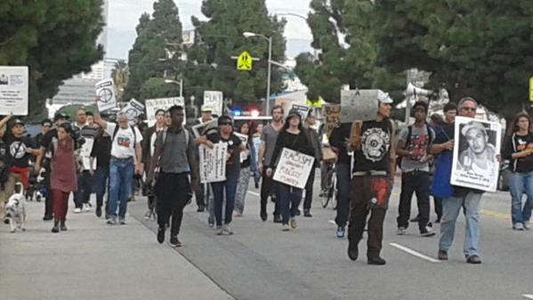 Marching S on Broadway in Los Angeles