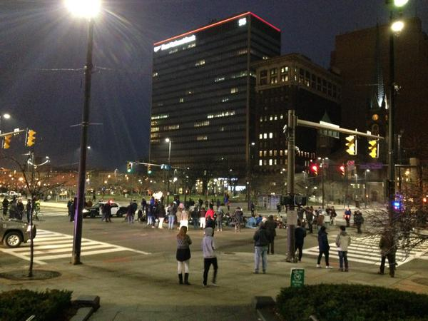 The protest ended in Public Square, Cleveland, OH where it began