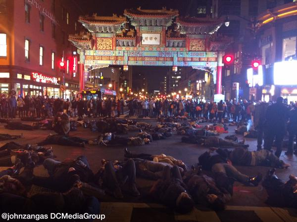 Hundreds in die-in for EricGarner in Washington, D.C Chinatown.