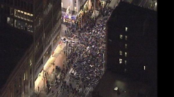 Protesters laying down in Central Square of Boston, MA