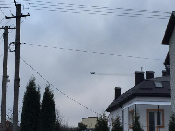 Ukrainian jet over Lviv this morning