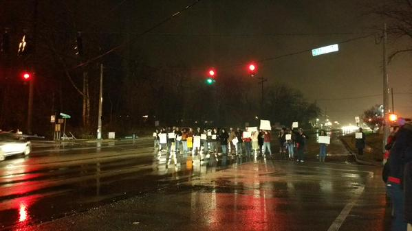 Demonstrators blocking traffic at Shelbyville Road & Madison Avenue in Middletown. Louisville, KY