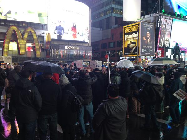 A passionate but small group of protesters in Times Square minutes ago. EricGarner