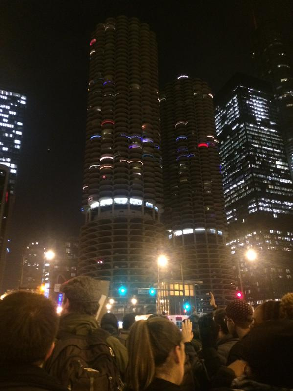 Third day of protests at Dearborn & Wacker. Group of around 30 people EricGarner