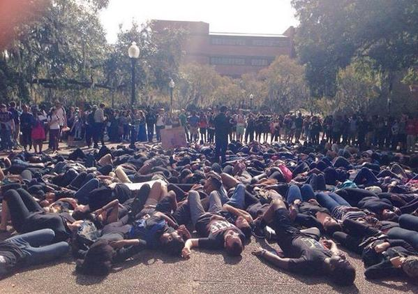 University of Florida students staged a die-in today for Eric Garner and Mike Brown, taking over Turlington Plaza.