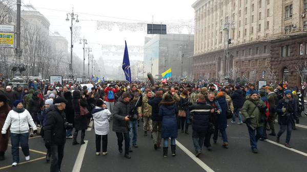 A local volunteer battalion on leave fr. Donbas marches on Kyiv main street 2wards Maidan square. Ukraine