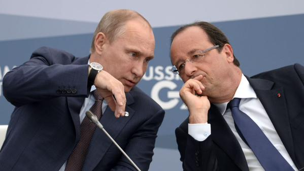 At the airport Vnukovo-2 began the meeting of Putin and Hollande
