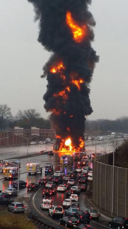 Accident, Huge Blaze on I-78 Union Township, New Jersey