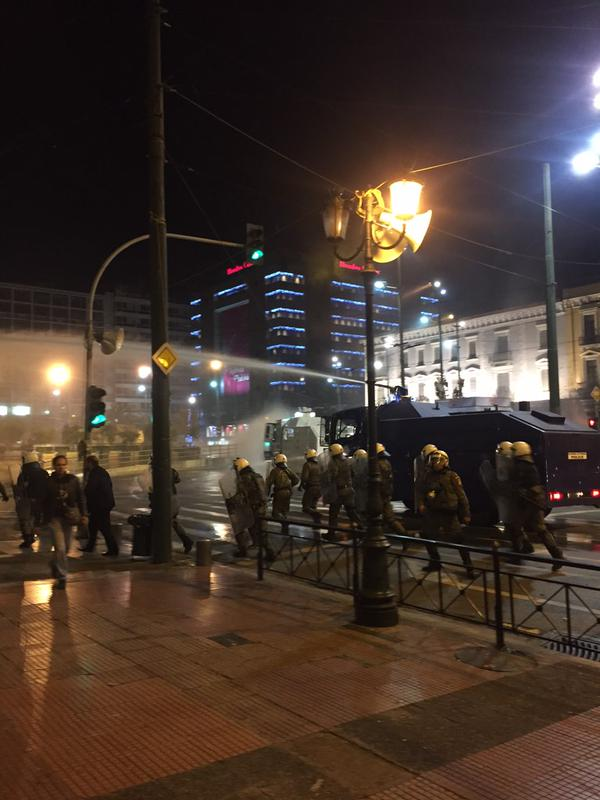 In Athens, police went on the offensive