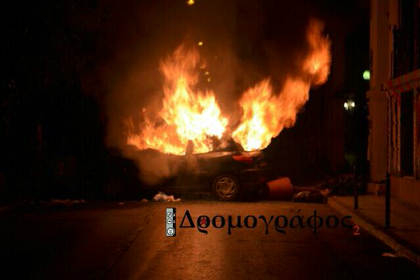 Burning car in Athens