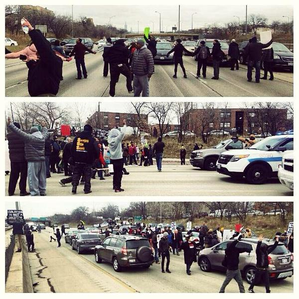 I-290 shut down by the protesters for EricGarner