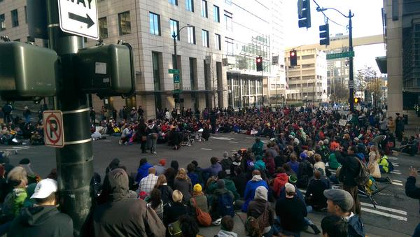 Rally In front of @SeattlePD HQ