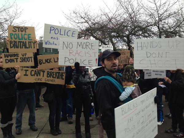 Rally in Corvallis showing support for EricGarner and MichaelBrown