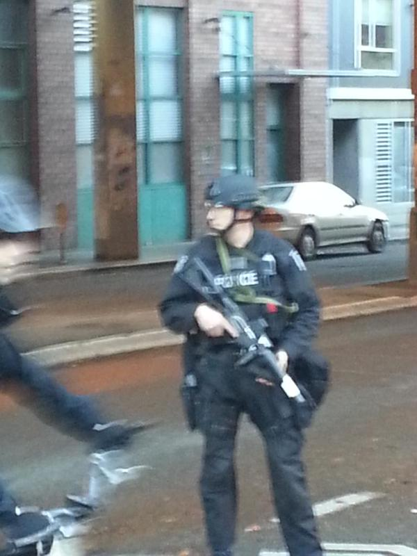 Riot guns out in downtown Seattle. EricGarner MikeBrown