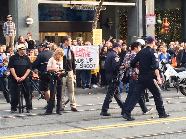 Arrests are taking place at Market/Powell during San Francisco EricGarner protest