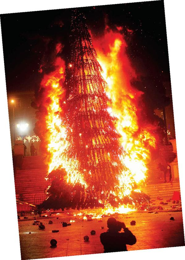 Greece / Athens burning Christmas tree