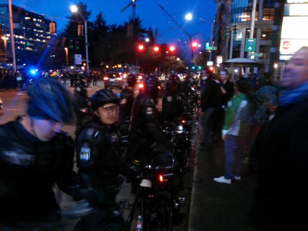 Protesters clear street, police order disperse. Pepper spray out