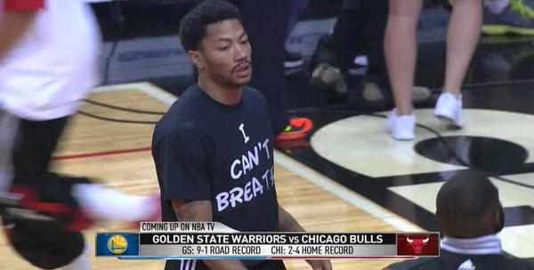 Derrick Rose wears I Can't Breathe shirt.  EricGarner