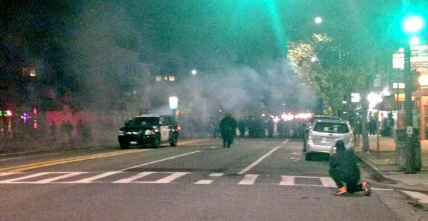 Berkeley California police tear gassing, flash banging and breaking bones of protesters. EricGarner