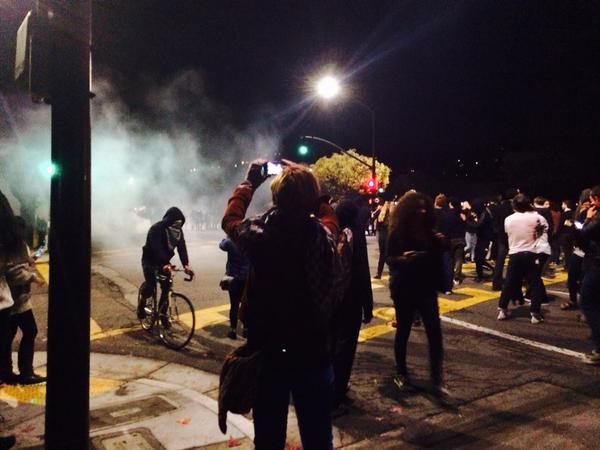 It's tear gas. Protesters being pushed further down Telegraph berkeleyprotests