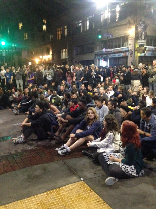 Students sit on the intersection of Telegraph & Channing berkeleyprotests