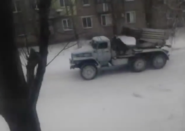 Putin's militants move MLRS BM-21 Grad through Luhansk
