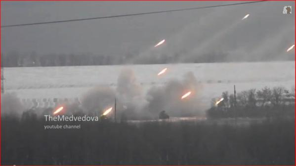 GRAD rockets shelling at Ukraine troops positions near Donetsk
