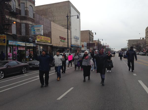 Demonstrators have shut down Madison, Chicago. Churchgoers join the group saying BlackLivesMatter