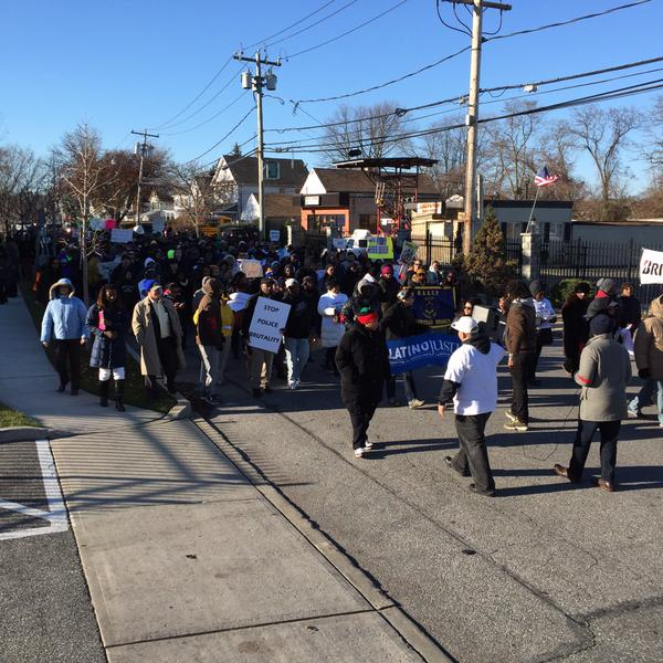 People taking the streets in Amityville