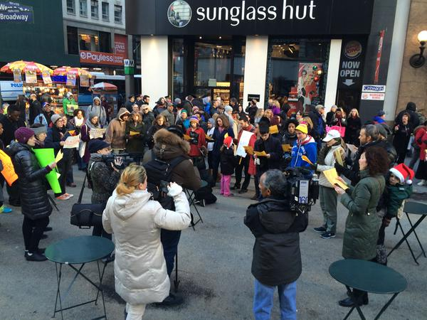 Protesters joined by professional opera singers in Herald Square