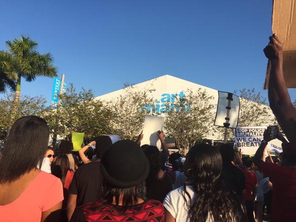 Now in front of ArtMiami chanting No Justice, No Peace.  Wynwood