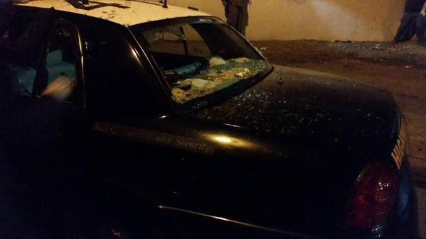 Cops cars with smashed windows at berkeleyprotests happening now