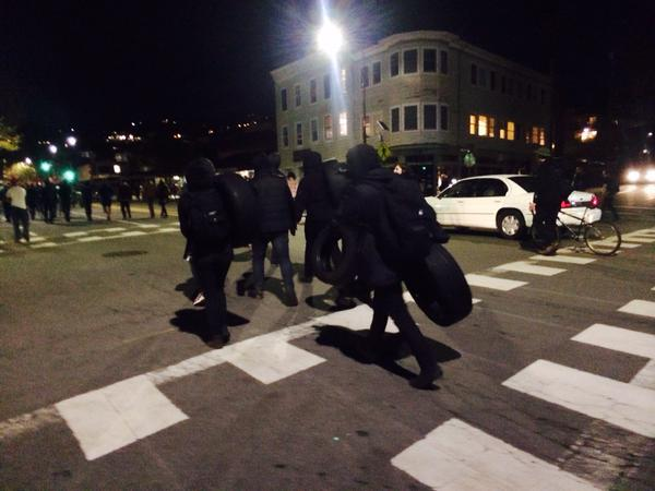 Saw 5 people carrying tires, dressed in black walking on Telegraph w/protesters.. berkeleyprotests