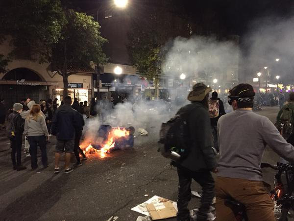 Fire on shattuck put out quickly by other protesters EricGarner berkekey