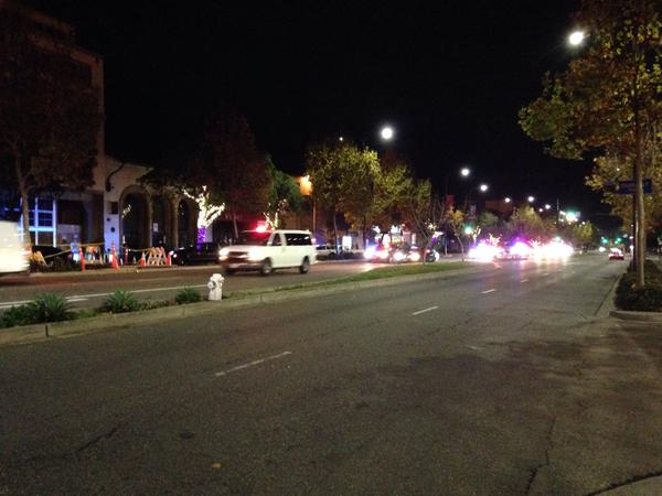 10 police vehicles moving north on Shattuck toward protesters. Crossed Bancroft