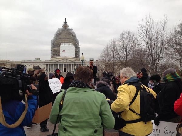 DCFerguson protesters assembling in front of the US Capitol
