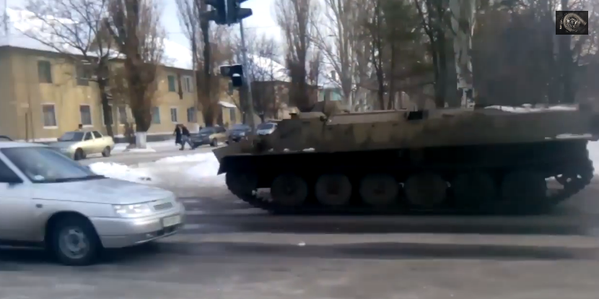A Russian invaders' MT-LB on the main road in Shakhtarsk