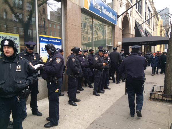 100+ cops gathered by Union Sq right now preparing for protests tonight. This is what happens when we ShutItDown