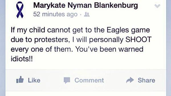 Pennsylvania High school counselor at @CBWestHS posts a threat to shoot EricGarner protesters