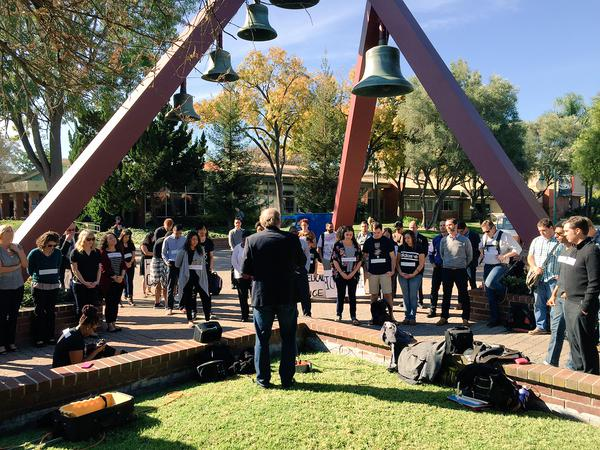 Students, staff, & faculty join in a vigil on Biola's campus to pray for reconciliation Ferguson EricGarner