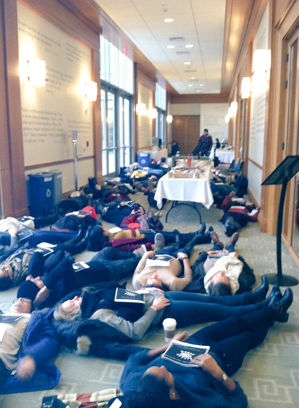Students dying-in outside of a @Harvard_Law faculty meeting