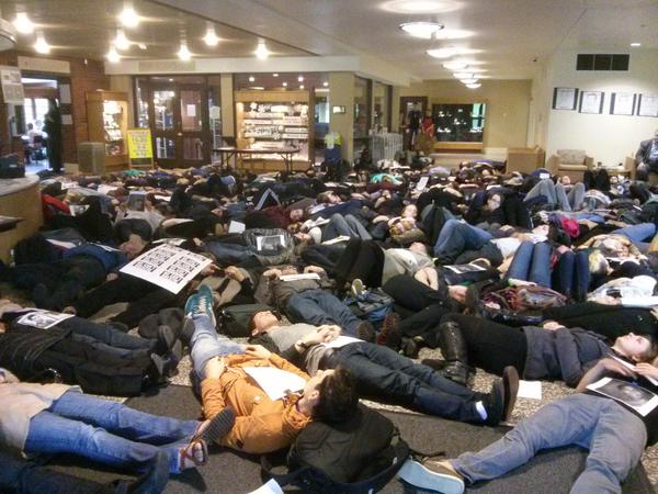 Die-in at Wheelock Student Center at University of Puget Sound